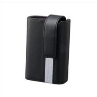Black leather carrying case -For W