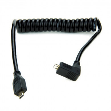 Atomos coiled right-angle micro HDMI to micro HDMI cable (30-45cm)